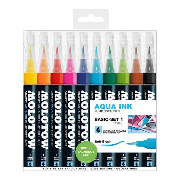 Molotow GRAFX AQUA Ink Pump Softliner 10 set Basic 1
